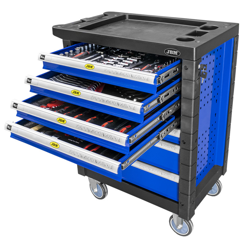 Servante d'atelier 7 tiroirs avec outils - bleu