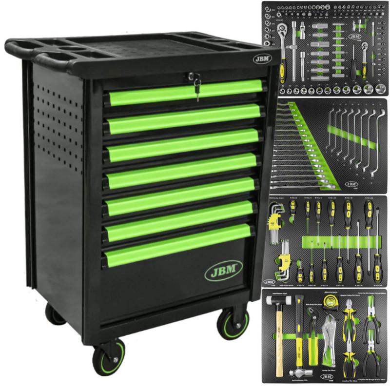 Servante d'atelier 7 tiroirs haute qualité avec outils - verte