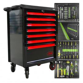 Servante d'atelier 7 tiroirs haute qualité avec outils - rouge
