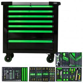 Servante 7 tiroirs avec outils et plan de travail en acier inoxydable - verte